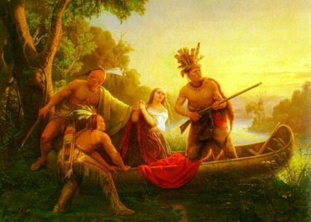 abAbduction of Daniel Boone's daughter by Cherokee and Shawnee Indians Kentucky 776