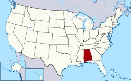 Map showing location of Alabama