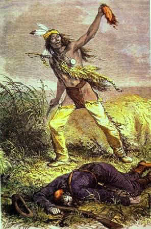 Modoc Indian taking a scalp of U.S. soldier - Indian Wars and Battles