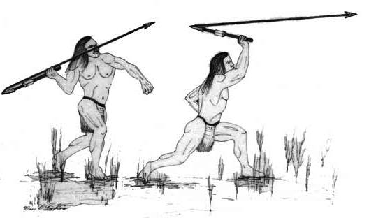 An atlatl is a spear-throwing tool that increases the velocity of a dart. Many early civilizations invented sophisticated hunting tools such as the atlatl, contrary to the belief that early humans were more primitive.