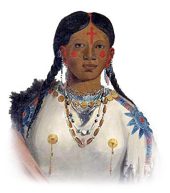 Picture of a Cheyenne Woman with dress and jewelry of glass beads