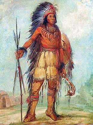 Chippewa (Ojibwe) Warrior with his War Shield
