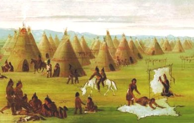Comanche Tepee Village - painting by George Catlin