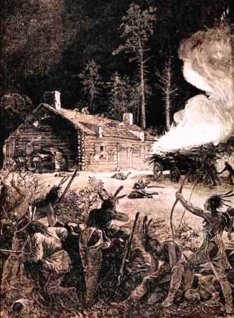 Indian attack on settlers log cabin