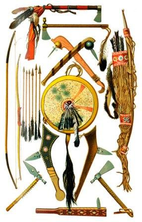 Indian-weapons-tomahawks-shield-club
