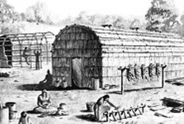 Picture of an Iroquois Longhouse