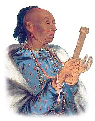 Kickapoo Indian holding a Prayer Stick