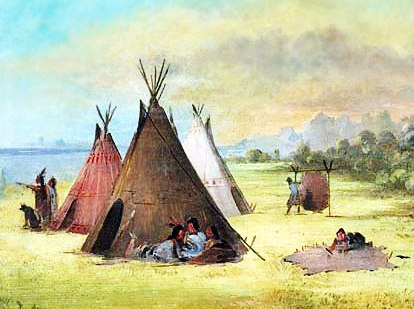Kiowa Native American Indian Tribe And Their Tepees
