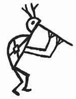 Kokopelli with antlers symbol