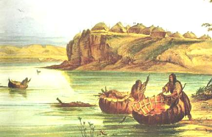 Mandan Tribe: Earth Lodge village and bullboats