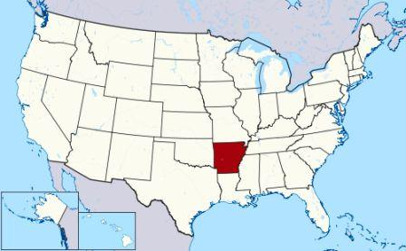 map showing location of arkansas