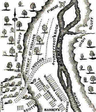 Map of the Battle of Fallen Timbers