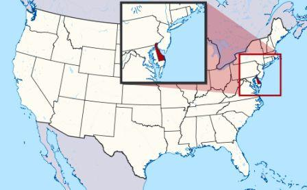 State Map showing location of Delaware Indians