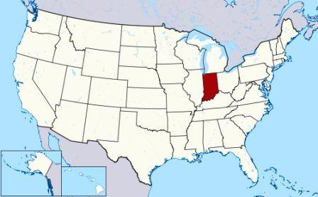 State Map showing location of Indiana Indians