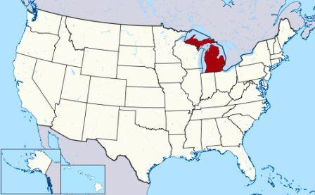 State Map showing location of Michigan Indians