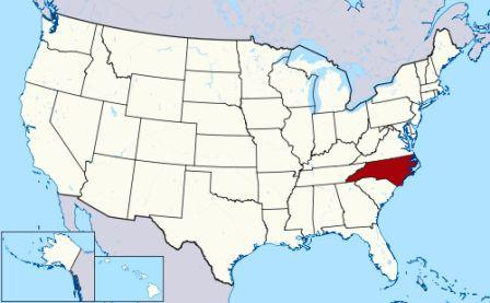 State Map showing location of North Carolina Indians
