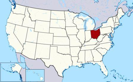 State Map showing location of Ohio Indians