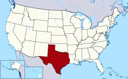 State Map showing location of Texas