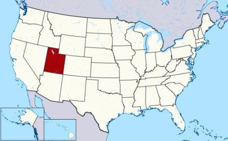 State Map showing location of Utah