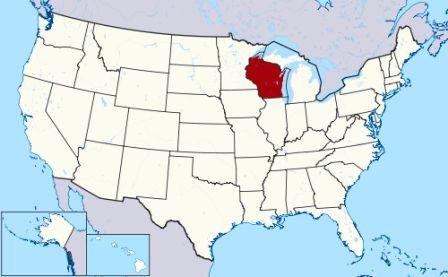 State Map showing location of Wisconsin