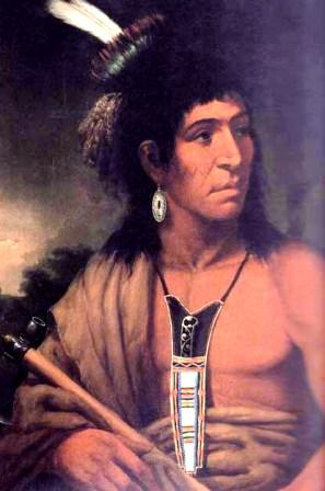American Indian wearing a neck knife