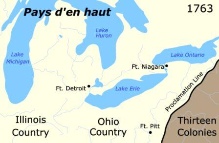 Map of the region called 'Pays d'en haut'