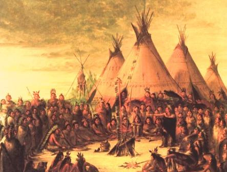 Pow-Wow: Sioux War Council Painting by George Catlin