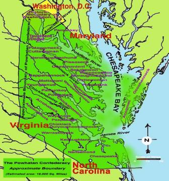 Map of Powhatan Confederacy territory and the location of each of the tribes