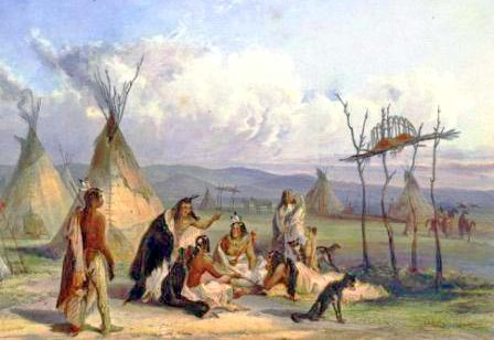 Sioux Native American Indian Tribe and their tepees
