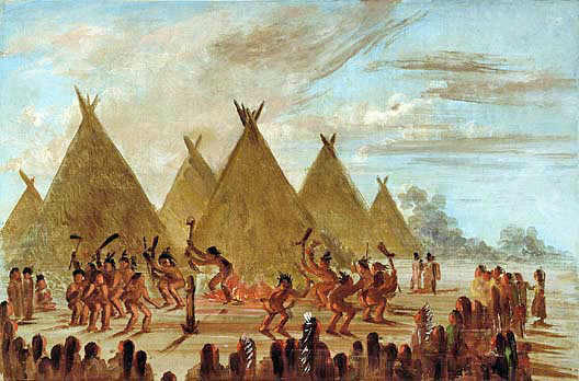 Sioux war dance brandishing war clubs