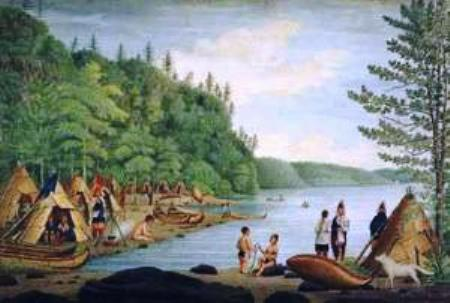 Abenaki Native American Indian Tribe village